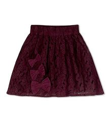 Young Birds All Over Lace Skirt - Wine