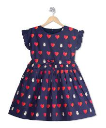 Young Birds Heart Beat Print Dress - Navy