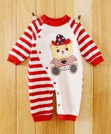 Dazzling Dolls Cartoon Print Long Sleeve Soft Winter Romper - Red