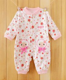 Dazzling Dolls Fun Print Long Sleeve Soft Winter Romper - Pink