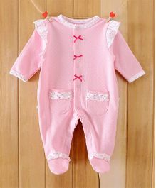 Dazzling Dolls Footed Polka Dot Soft Winter Romper - Pink