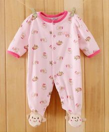 Dazzling Dolls Footed Animal Print Soft Winter Romper - Pink