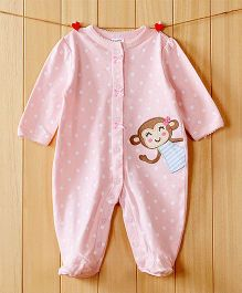 Dazzling Dolls Monkey Applique Footed Soft Winter Romper - Pink