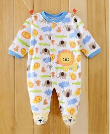 Dazzling Dolls Lion Applique Footed Soft Winter Romper - Blue