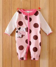 Dazzling Dolls Cow Applique Long Sleeve Soft Winter Romper - Pink