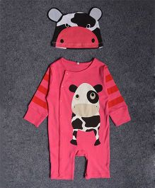 Dazzling Dolls Cartoon Print Soft Romper And Cap Set - Pink