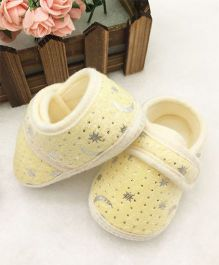 Dazzling Dolls Stars & Moons Print Super Soft Baby Booties - Yellow