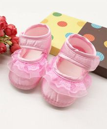 Dazzling Dolls Satin Pink Soft Baby Booties - Pink