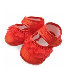 Dazzling Dolls Satin Red Soft Baby Booties - Red