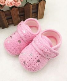 Dazzling Dolls Stars & Moons Print Super Soft Baby Booties - Pink