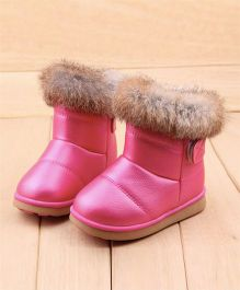 Wonderland Boots With Fur - Rose Red