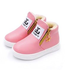 Wonderland Sneakers With Star Design Zipper - Pink