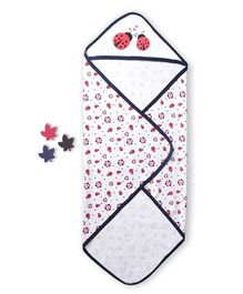 Beebop Cotton Receiving Blanket Ladybug Design - Navy