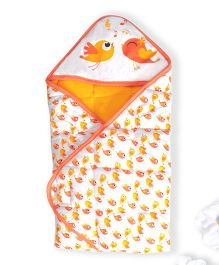 Beebop Cotton Polyfill Hooded Blanket Bird Design - Orange