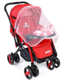 Baby Pram Cum Stroller With Play Tray - Red