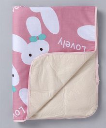 Diaper Changing Baby Mat Bunny Print - Peach