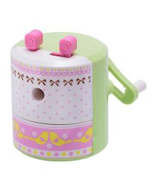 Chrome Designer Table Sharpener - Green Pink