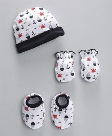 Babyhug Cap Mittens & Booties Set Anchor Print - Black & White