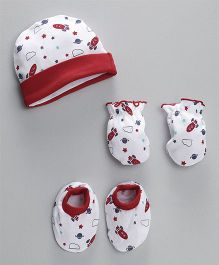 Babyhug Cap Mittens & Booties Set Space Print - White & Red