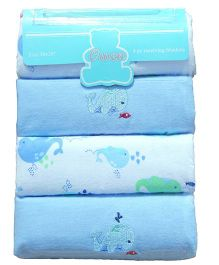 Owen Receiving Cotton Blankets Fish Design Pack of 4 - Blue