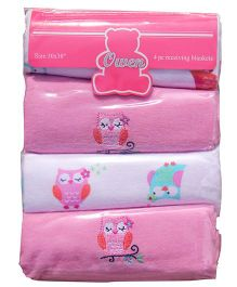 Owen Receiving Cotton Blankets Owl Design Pack of 4 - Pink