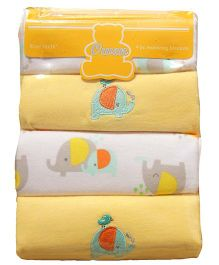 Owen Receiving Cotton Blankets Elephant Design Pack of 4 - Yellow