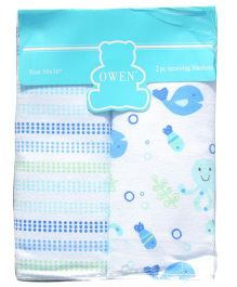 Owen Receiving Cotton Blankets Multi Design Pack of 2 - Blue