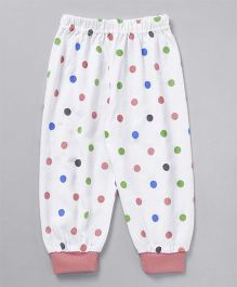 Mini Taurus Full Length Polka Dot Lounge Pants  - White Pink