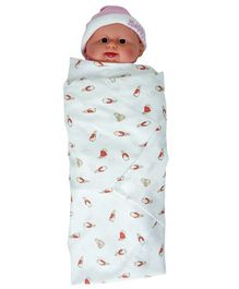 My Stork Story Premium Cotton Muslin Swaddle Wrap Rabbit Print - White