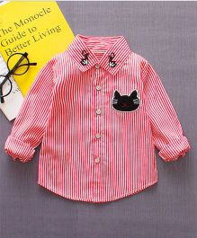Pre Order - Wonderland Cat Applique Striped Shirt - Red