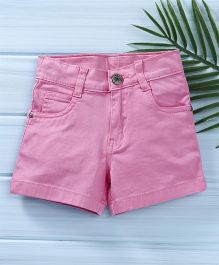 Babyhug Solid Colour Shorts With Adjustable Elastic Waist - Pink
