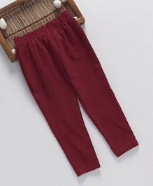 ToffyHouse Full Length Leggings Solid Color - Dark Red