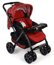 Baby Stroller With Child Tray - Maroon