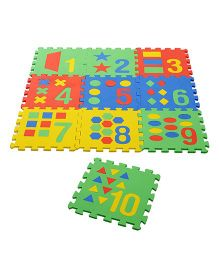 NHR Puzzle Mat With Pop Out Number Shapes Pack of 10 - Multi Colour