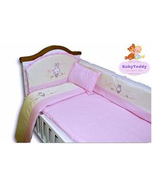 BabyTeddy Crib Bedding Set With Bumper Rabbit Design - Pink