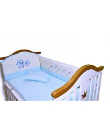 BabyTeddy Crib Bedding Set With Bumper Dolphin Design - Blue