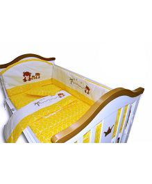 BabyTeddy Crib Bedding Set With Bumper Bear Design - Yellow