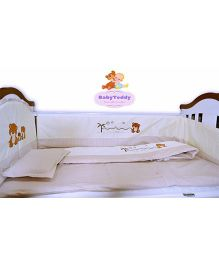 BabyTeddy Crib Bedding Set With Bumper Bear Design -  Light Brown