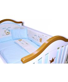 BabyTeddy Crib Bedding Set With Bumper Penguin Design - Blue
