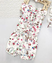 ToffyHouse Cap Sleeves Multi Printed Jumpsuit - Off White & Multi Colour