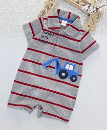 ToffyHouse Half Sleeves Striped Romper Vehicle Patch - Red & Grey