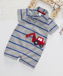 ToffyHouse Half Sleeves Striped Romper Vehicle Patch - Royal Blue Grey