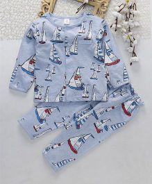 ToffyHouse Full Sleeves Night Suit Boat Print - Light Blue
