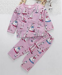 ToffyHouse Full Sleeves Night Suit Boat Print - Pink