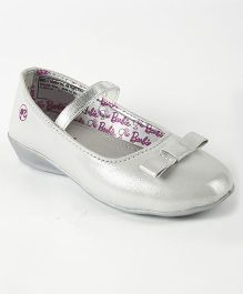 Barbie Party Wear Belly Shoes Bow Applique - Silver