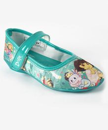 Dora Printed Belly Shoes - Sea Green