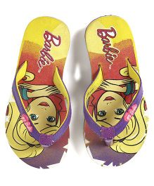 Barbie Flip Flops With Back Strap - Yellow Purple