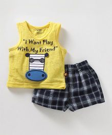 Wow Clothes Sleeveless Tee & Shorts Text Print - Yellow Navy