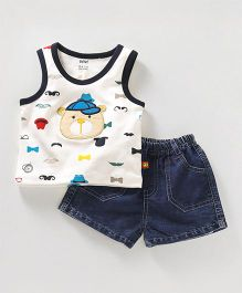 Wow Clothes Sleeveless Tee & Shorts Embroidered Bear - Off White Dark Blue