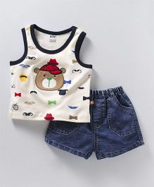 Wow Clothes Sleeveless Tee & Shorts Embroidered Bear - Blue Off White